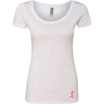Buy Cool Shirts Ladies Breast Cancer Tee Embroidered Ribbon Bottom Scoop Neck