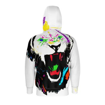 King of The Jungle Lion Men's White Zip up Hoodie (French Terry)