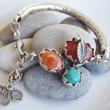 Organic Silver Bar Bracelet - Turquoise, Rusty Brown Jade and Orange Agate Trio Stone - One Of A Kind - Summer Fashion