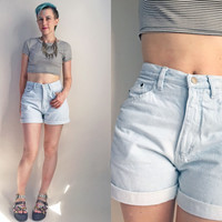 "80s clothes / Vintage 1980's Gitano High Rise Light Wash Jean Shorts Mom Jeans 80s Jorts, 28"" waist"