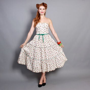 50s Floral Strapless DRESS / CORSET Laced Back / Full Tiered Skirt, m