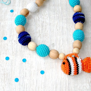 Teething necklace with toy, Fish, Nursing necklace, Orange blue, Mom necklace, Babywearing, Sling Accessory