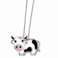 Sterling Silver CZ Enamel Cow 18 Necklace