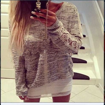Lace Patchwork Casual Scoop Long Sleeves Blouse