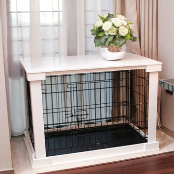 Wooden Pet Cage with Crate Cover and Removable Plastic Tray