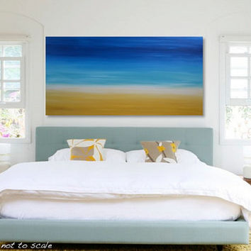 "HUGE 48"" Original Abstract Beach Painting - Large Bright Acrylic Canvas Art - Blue Sky, Turquoise Ocean, Yellow Sand - 48x24 - FREE Shipping"