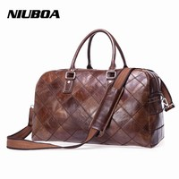 NIUBOA Vintage 100 % Genuine Leather Travel Bags Cowhide Leather Travel Men Duffle Luggage Large Weekend Stitching Bag Tote