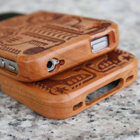 Totem Engraved Wooden Hard Wood Cover Case for Iphone 4/4s/5