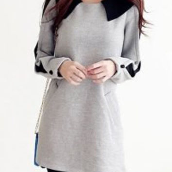 Color Block Peter Pan Collar Long Sleeve T-Shirt