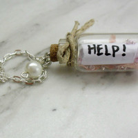 Message in a bottle Neclace- Polymer clay