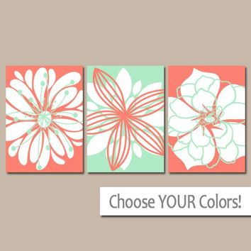 CORAL MINT Wall Art, CANVAS or Prints, Matching Bedroom Wall Decor, Coral Nursery Decor, Mint Bathroom Decor, Flower Dahlia Set of 3 Decor