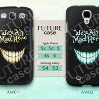 Alice Wonderland Samsung Galaxy S4 Case Cat Cheshire We're All Mad Here Samsung Case Galaxy S3 S4 skin case cover Hard or Soft Case