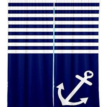 Window Curtains Lined from DiaNoche Designs Artistic, Stylish, Unique, Decorative, Fun, Funky, Cool by Organic Saturation - Navy Blue Love Anchor Nautical