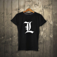 "Camiseta Manga Larga - Death Note ""L"" - Japanese Anime Manga L Kira Ryuk Yagami Light shinigami T Shirt"