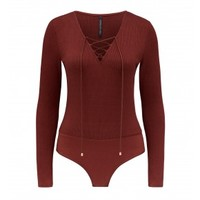 Ciara Lace Up Rib Bodysuit Burnt Spice - Womens Fashion | Forever New