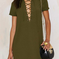 Military Green Lace Up Front Short Sleeve Dress
