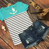Color Blocked Striped Top: Mint