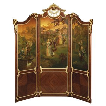 Kingwood and Vernis Martin Three-Fold Screen