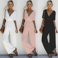 Fashion Sexy V-Neck High Waist Jumpsuit