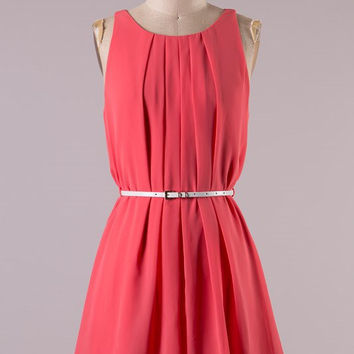 Pleated Front Belted Dress - Coral