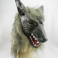 Halloween Wolf Full Head&Gloves Set Latex Mask Cosplay Musk Party Animal Costume Prop Ball