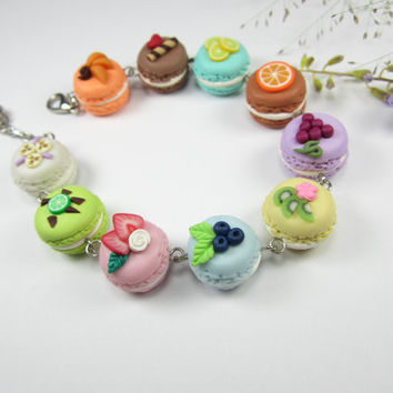 Fruity French Macaron Bracelet - food jewelry , food bracelet