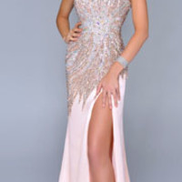 (PRE-ORDER) Nina Canacci 2014 Prom Dresses - Peach Satin & Beaded Strapless Sweetheart Prom Gown