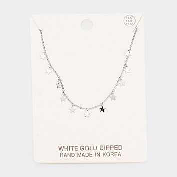 White Gold Dipped Star Pendant Drop Collar Necklace