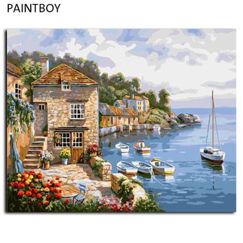 Seascape Paint  Wall DIY Painting By Numbers Digital Canvas Oil Painting Frameless Pictures Home Decor For Living Room G296