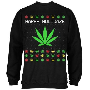 DCCKU3R Pot Leaf Rasta Happy Holidaze Holidays Ugly Christmas Sweater Mens Sweatshirt