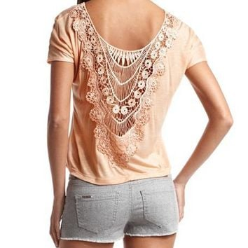 Solid Crochet Back Tee: Charlotte Russe