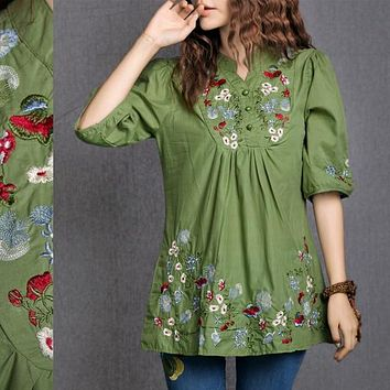 Hot Sale Vintage 70s Peasant Mexican Ethnic Floral Embroidered Boho Hippie Blouse Dress Clothing Vestidos S M L Free Shipping