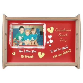 Personalized Grandma photo for snacks red Serving Tray