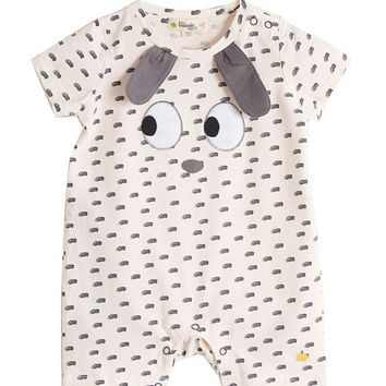 bonniemob Animal Face Appliqué Printed Shortall, Size 0-18 Months
