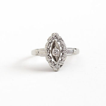 Vintage 14K White Gold .08 Carat Diamond Shield Ring - Size 5 1  0b908429e2
