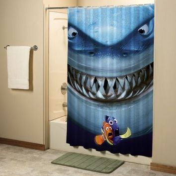 Finding Nemo and Shark Bruce Pixar High Quality Custom Shower Curtain 60x72 Inch