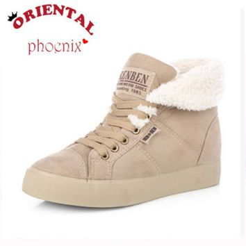Ankle High Round Toe Lace-Up Thick Flat Heels Women's Winter Boots