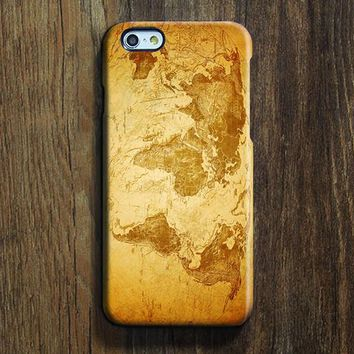 Retro Yellow World Map iPhone 6s Case iPhone 6 plus Case Ethnic iPhone 5S 5 iPhone 5C iPhone 4S Case Galaxy S6 Edge S6 S5 S4 Note 3 Case 086