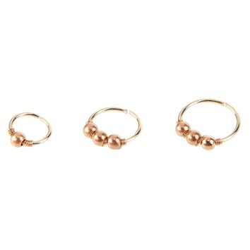 3pcs Nose Ring Nose Bead Studs Nostril Hoop Nose Earring Piercing Jewelry 6mm 8mm 10mm