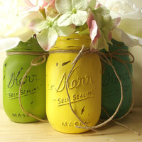 Hand Painted Mason Jars, Three - Rustic Style Mason Jars -- Yellow, Green and Teal