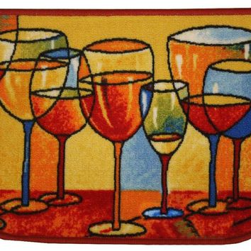 "Merlot Kitchen Rug, Area Rug, Mat, Carpet-18""x30"" D Shape"