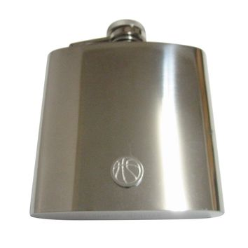 Silver Toned Etched Round Basketball Pendant 6 Oz. Stainless Steel Flask