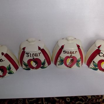 Vintage Purinton Slip Ware Apple Canister Set Flour Sugar Tea Coffee