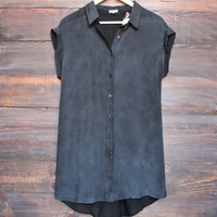 button-up t-shirt dress - vintage black