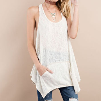 Twisted Back Tunic - Oatmeal