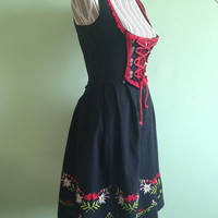 Dirndl Dress, Full Skirt, Open Bust Dress, Floral Embroidery Corset Dress, Bavarian Dress, Octoberfest Costume, Sleeveless Dress, Size XS S