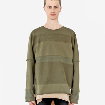Half Reversed Terry Panel Pullover in Olive