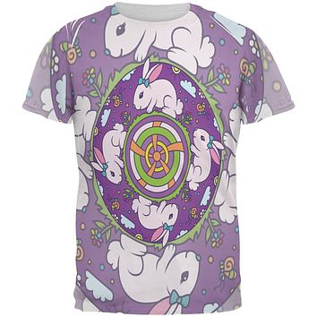 Mandala Trippy Stained Glass Easter Bunny All Over Mens T Shirt