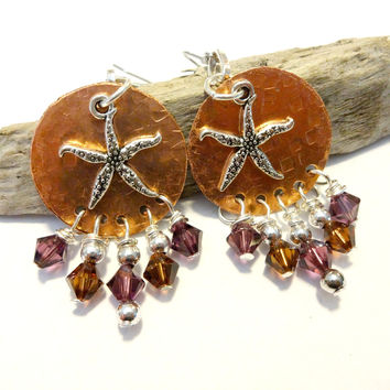 Copper Starfish Chandelier Earrings Made With Swarovksi Crystal Element Beads