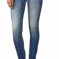 Miss Me Plain Medium Blue Ruffle Skinny Jeans